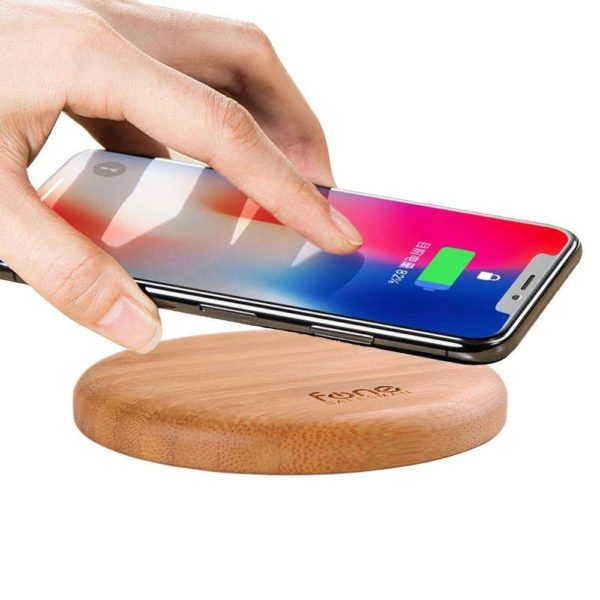 WoodPuck: Bamboo Edition Fast Wireless Charger, 7.5W Charging for iPhone XS, XS Max, XR, X, 8, 8 Plus,10W Fast Charger for Galaxy S9, S9 Plus, S8, S8+, Note 9, 8, 5 and Other Qi Phones (No AC Adapter) 1