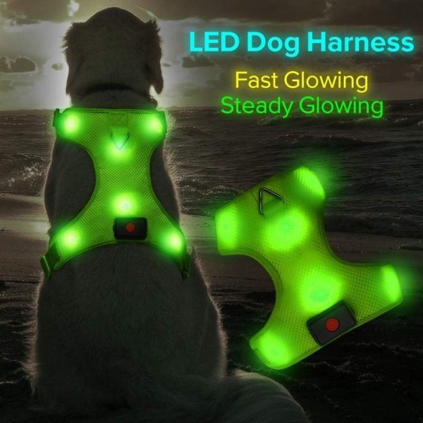 HiGuard USB Rechargeable LED Dog Harness Comfort Soft Mesh Lighted Up Glowing Harness Vest with Adjustable Belt Padded for Dog Night Walking Training 1