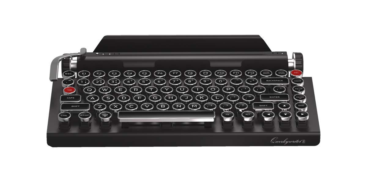qwerkywriter s typewriter inspired retro mechanical wired wireless keyboard with tablet stand. Black Bedroom Furniture Sets. Home Design Ideas