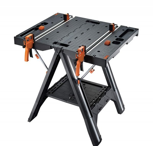 WORX Pegasus Multi-Function Work Table and Sawhorse with Quick Clamps and Holding Pegs – WX051 1
