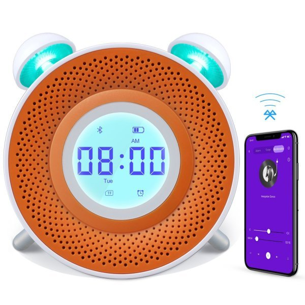ANGTUO Alarm Clock for Kids, USB Charging Smart Digital Kids Alarm Clock, 7 Colors Bedside Bluetooth Clock Toddler Bedtime Story with MP3 Player - 1GB TF Card/Compatible in iOS and Android System. 1