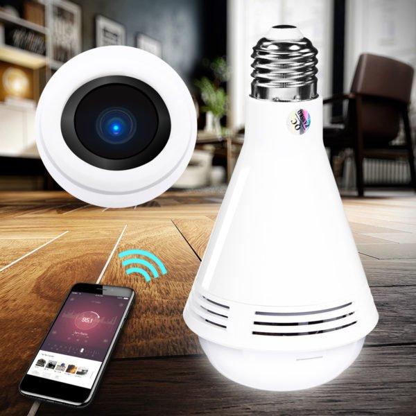 360° HD 960P 1080P WiFi IP Camera LED Light Bulb Bluetooth Speaker Security Monitoring 1