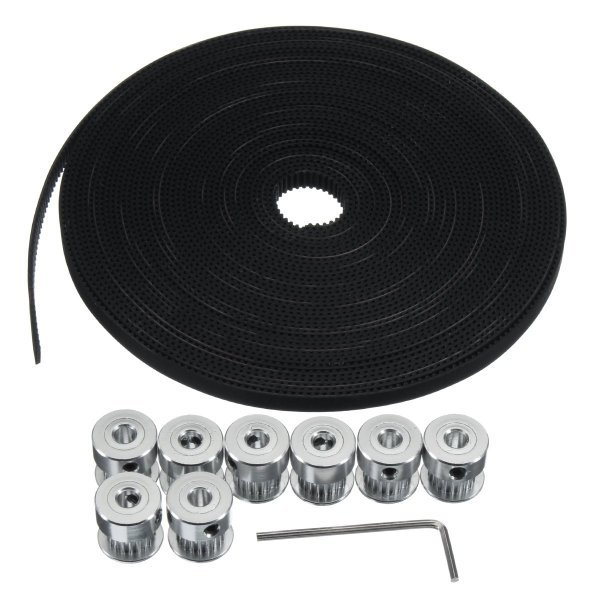 10M GT2 Timing Belt 6mm Wide + 10x Pulley + L Shape Wrench For 3D printer CNC RepRap 1
