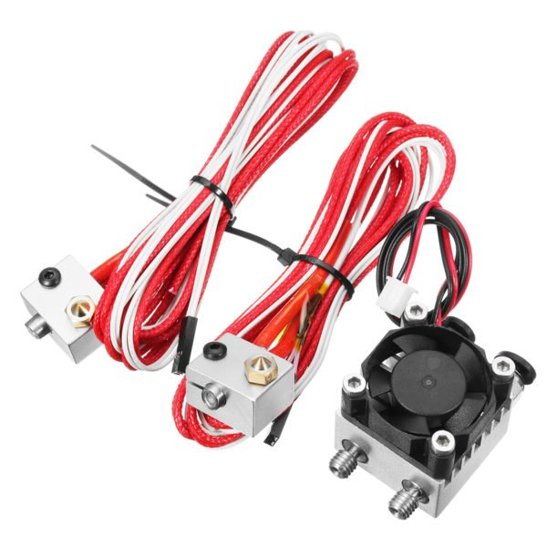 1.75mm/3.0mm Fialment 0.4mm Nozzle Upgraded Dual Head Extruder Kit for 3D Printer 1