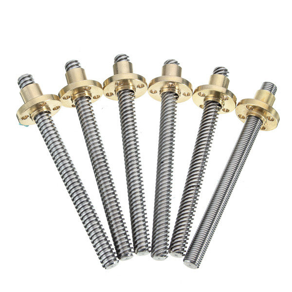 3D Printer T8 1/2/4/8/12/14mm 400mm Lead Screw 8mm Thread With Copper Nut For Stepper Motor 1