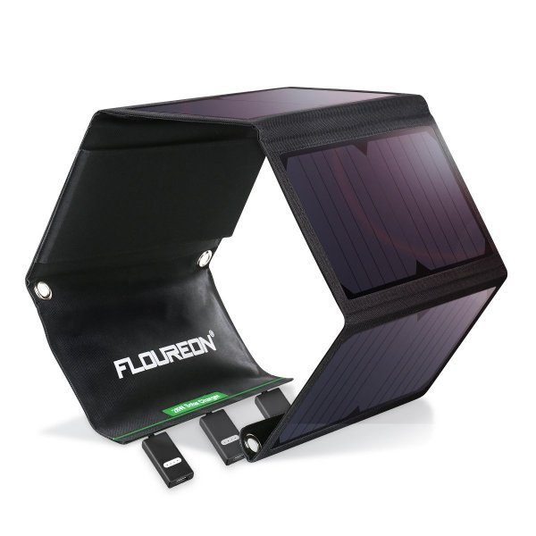 FLOUREON 28W Foldable Waterproof Solar Panel Charger Mobile Power Bank for Smartphones Tablets Triple USB Ports Outdoor 1