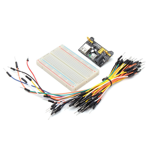 MB102 Power Supply and 65pcs Jumper Cable Dupont Wire and 400 Holes Breadboard Kit 1