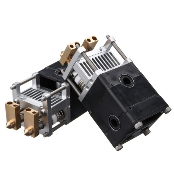3D Printer Part Ultimaker UM2 Aluminum Alloy Dual Heads Extruder Kit For 0.4mm 1.75/3mm Nozzle 1