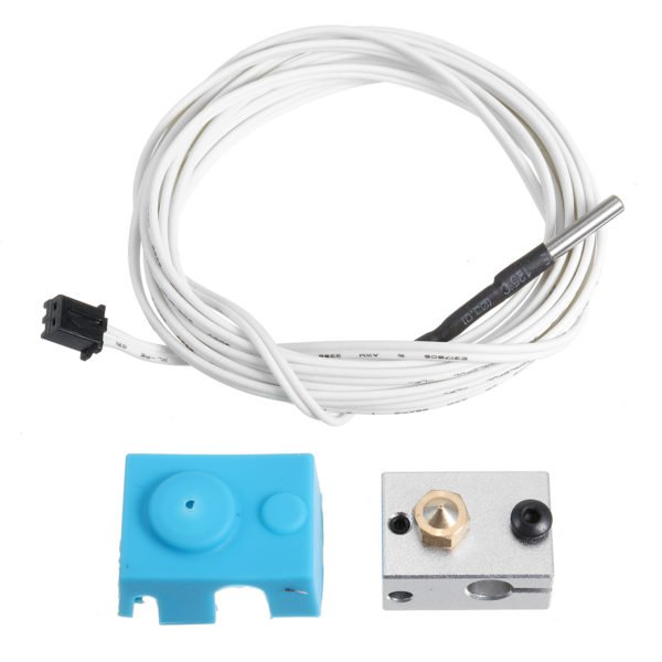 V6 PT100 Aluminum Block Silicone Case Kit with 2m Thermistor Wire for 3D Printer 1
