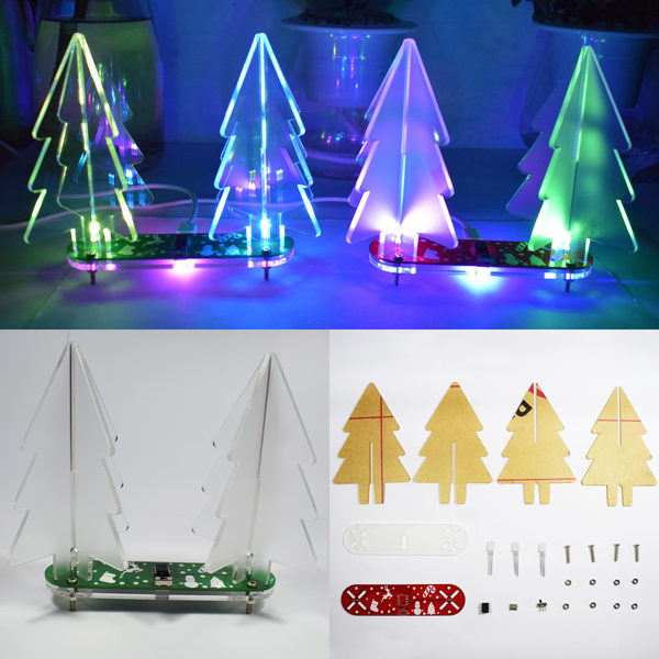 Geekcreit® DIY Full Color Changing LED Acrylic 3D Christmas Tree Electronic Learning Kit 1