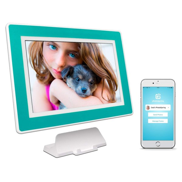 PhotoSpring (16GB) 10-Inch IPS, WiFi, Touchscreen, Battery, iPhone & Android App, Photo & Video, Picture Frame (White) 15,000 Photo Capacity 1