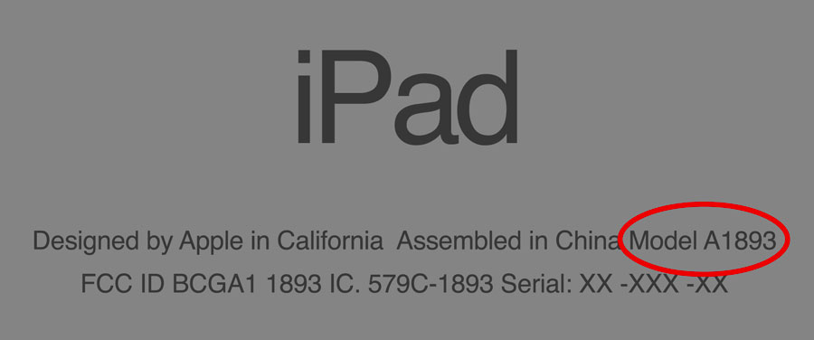 ipad model number location