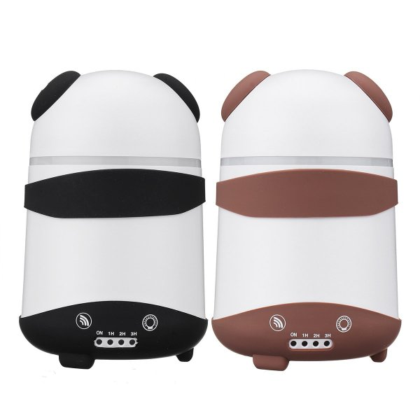 Dual Humidifier Air Oil Diffuser Aroma Mist Maker LED Cartoon Panda Style For Home Office US Plug 1