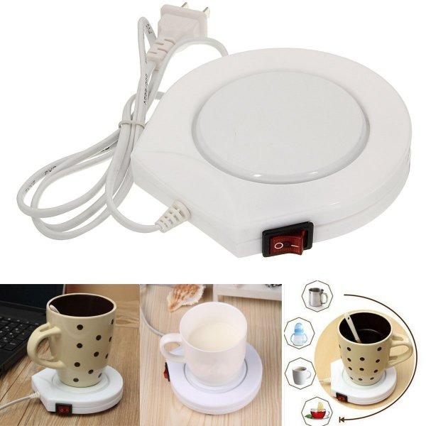 220v White Electric Powered Cup Warmer Heater Pad Coffee Tea Milk Mug US Plug 1