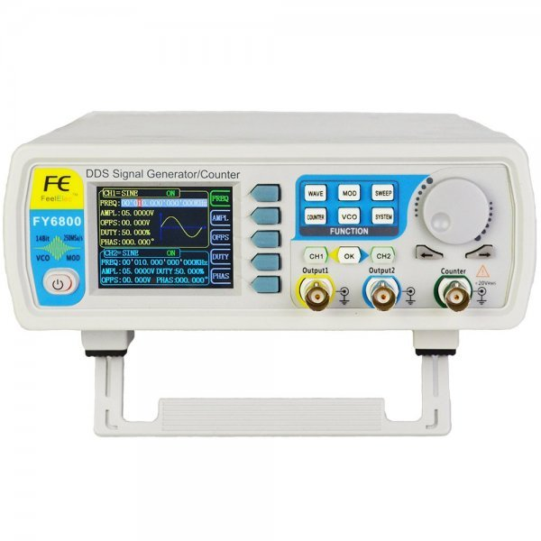 FY6800 2-Channel DDS Arbitrary Waveform Signal Generator 14bits 250MSa/s Sine Square Pulse Frequency Meter VCO Modulation 1