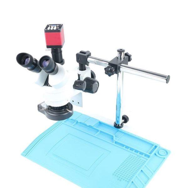 Simul-focal Continuous Zoom 7~45X Trinocular Stereo Microscope+HDMI/VGA Microscope Camera+56 LED Light+Universal Bracket+ Mat 1