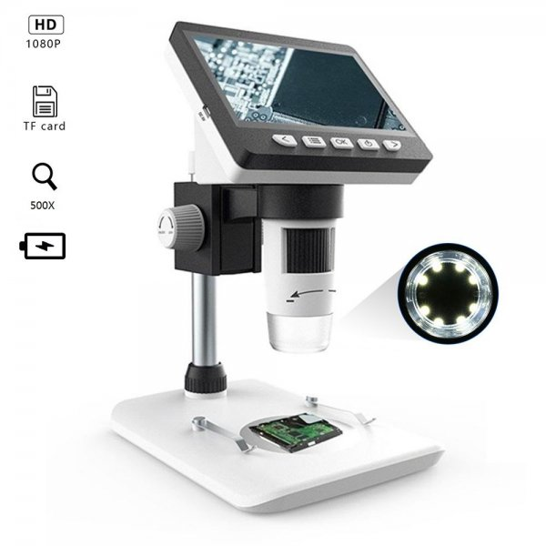 MUSTOOL G700 4.3 Inches HD 1080P Portable Desktop LCD Digital Microscope Support 10 Languages 8 Adjustable High Brightness LED With Adjustable Bracket Picture Capture Video Recording 1