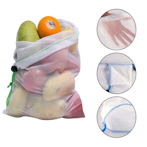 15pcs Reusable Mesh Produce Bags Vegetable Fruit Storage Shopping Grocery Bag 1