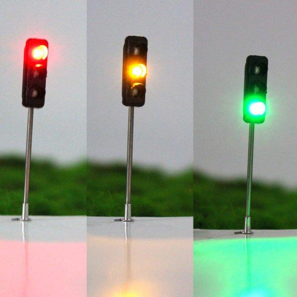 3Pcs 50mm DIY Model 3-Light Traffic Lights Signal Architecture Street Train 1