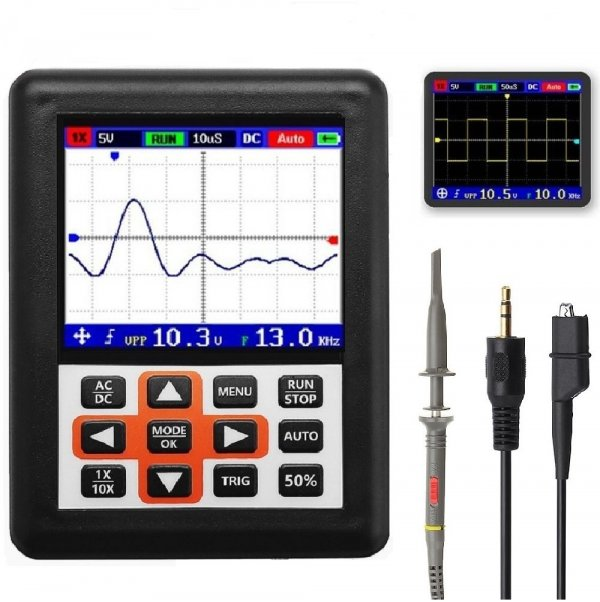 DSO338 Handheld Oscilloscope 30MHz Bandwidth 200M Sampling Rate 2.4 Inch IPS Screen 320*240 Resolution Technology Built-in 64M Storage  Built-in 3000mah Lithium Battery 1