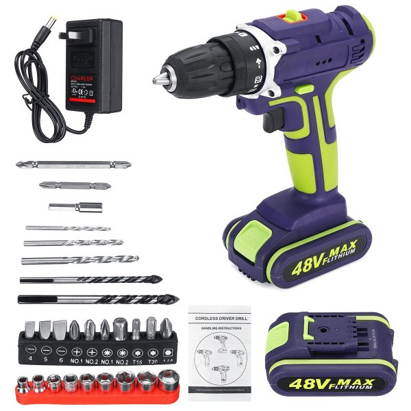3 In 1 Hammer Drill 48V Cordless Drill Double Speed Power Drills LED lighting 1/2Pcs Large Capacity Battery 50Nm 25+1 Torque Electric Drill 1