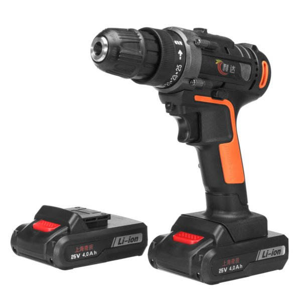 25V 4000mAh Cordless Rechargeable Power Drill Driver Electric Screwdriver with 2 Li-ion Batteries 1