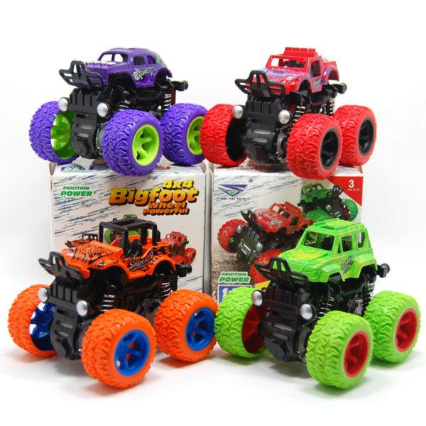 Classic Pull Back Big Foot Wheel Drive Car 9cm Rotatable Friction Power Shockproof Inertial Blocks Toys 1