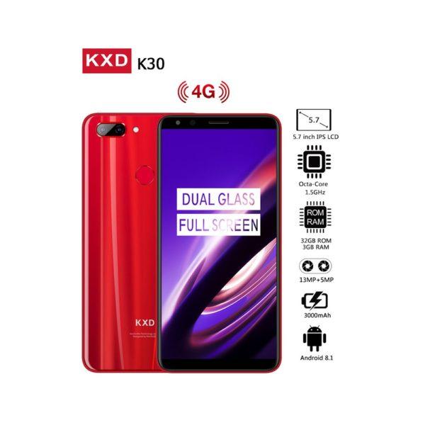 KXD K30 5.7 Inch 18:9 Full HD Screen Andriod 8.0 MTK6750 Octa Core 3GB RAM 32GB ROM Fingerprint 4G Mobile Phone - Red 1