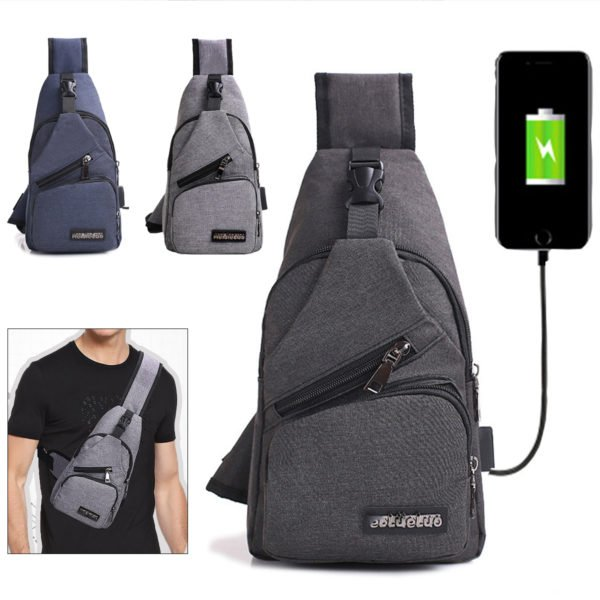 Men USB Charging Shoulder Chest Bag Sling Backpack Waterproof Sports Travel Pouch 1