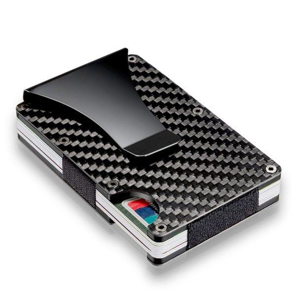 Slim Carbon Fiber Credit Card Holder RFID Blocking Metal Wallet Money Clip Case 1