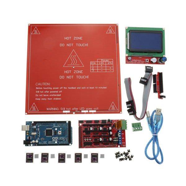 3D Printer Mainboard Kit RAMPS 1.4 + Arduino Mega 2560 + DRV8825 + 12864LCD + PCB Heat Bed MK2B 1
