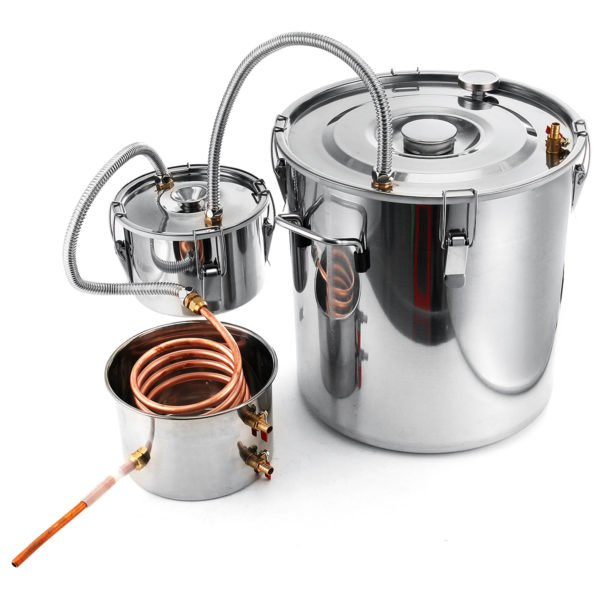 2/3/5/8 Gallons Moonshine Still Spirits Kit Water Alcohol Distiller Copper Tube Boiler Home Brewing Kit with Thumper Keg Stainless Steel 1