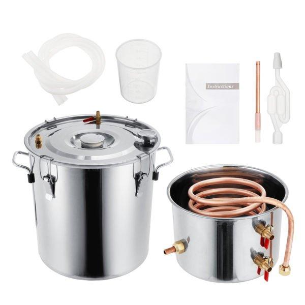 2GAL/3GAL/5GAL/8GAL Moonshine Still Spirits Kit Water Alcohol Distiller Boiler Home Brewing Kit Stainless Steel DIY 1