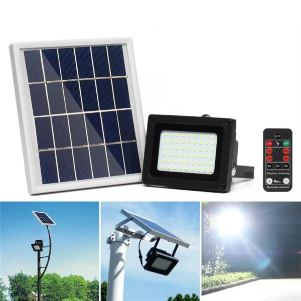 400LM 54 LED Solar Panel Flood Light Spotlight Project Lamp IP65 Waterproof Outdoor Camping Emergency Lantern With Remote Control 1