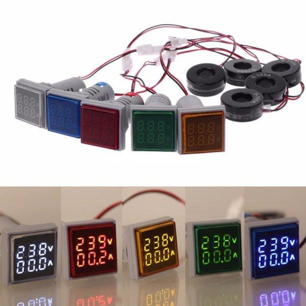 Geekcreit® AC 60-500V 0-100A D18 Square LED Digital Dual Display Voltmeter Ammeter Voltage Gauge Current Meter 1