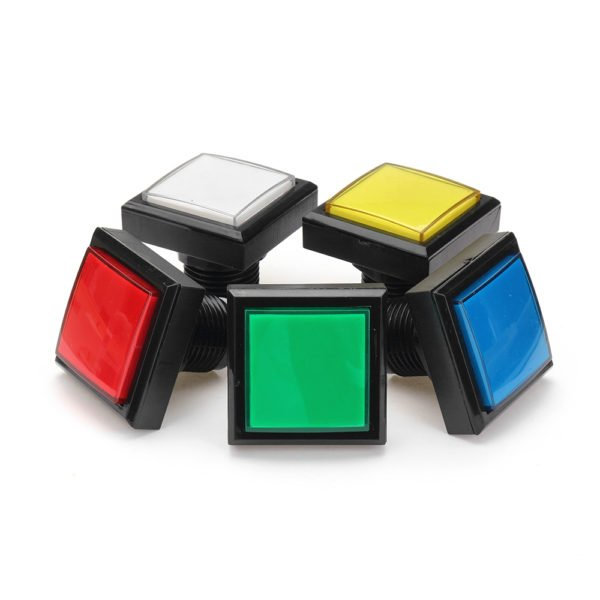 44x44mm Blue Red White Yellow Green LED Light Push Button for Arcade Game Console DIY 1