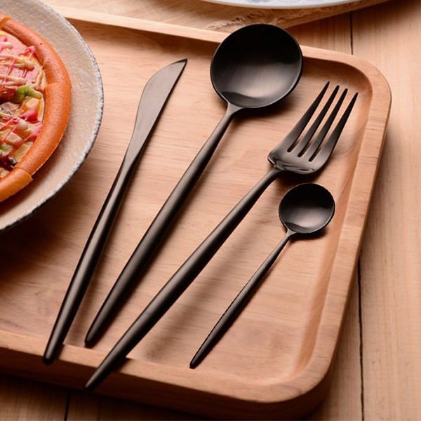 KCASA FL2 4 Pieces Food Grade 304 Stainless Steel Flatware Set Matte Dinnerware Cutlery Tableware 1