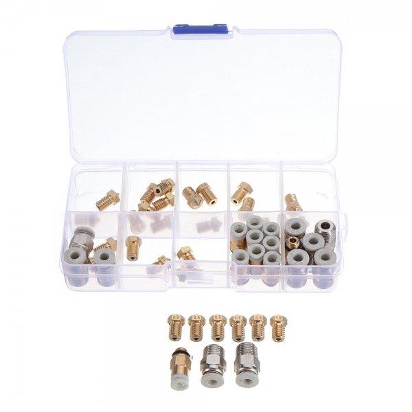3Pcs 0.2~1.0mm Nozzle+10Pcs 0.4mm V6 Brass Nozzle+10*PC4-M6+10*PC4-M10 Brass Pneumatic Connector Kit Boxed for 3D Printer Makerbot Part 1