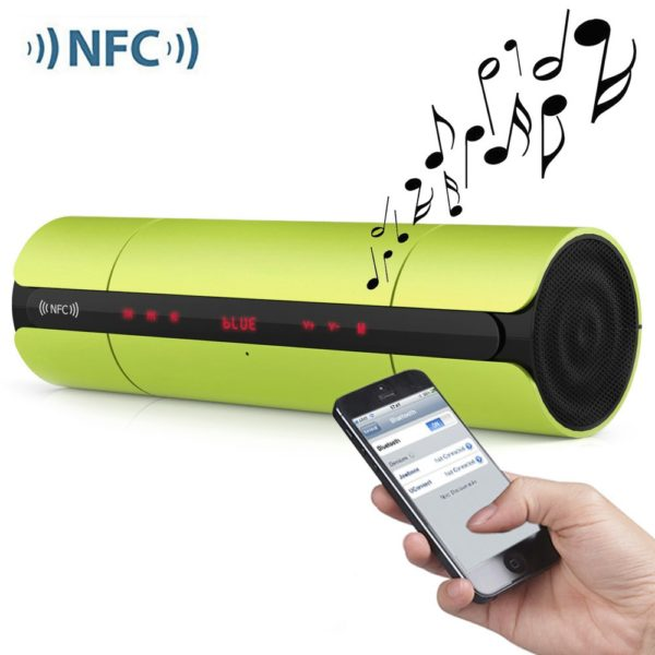 KR8800 Matte Wireless Bluetooth V3.0 LED Display Speaker with Light Sensitive Touch NFC FM Radio Support External USB TF Card Playing 1