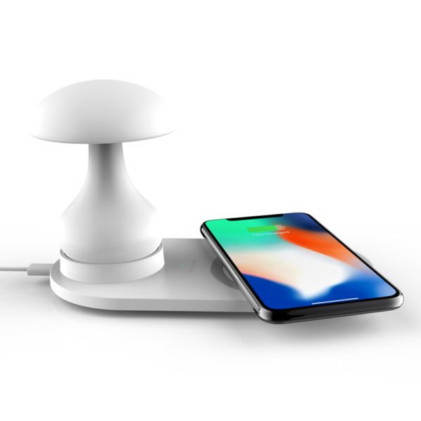 Bakeey 3 In 1 10W 7.5W 5W Night Light Indication Lamp Fast Charging Wireless Charger For iPhone XS 11 Pro Huawei P30 Pro Watch 5 Headset 1