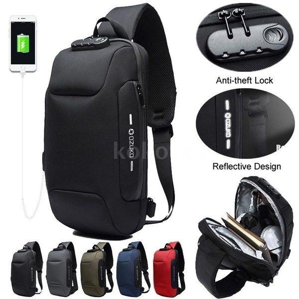 Men USB Anti-thfet Multifunctional Large Capacity Chest Bag 1