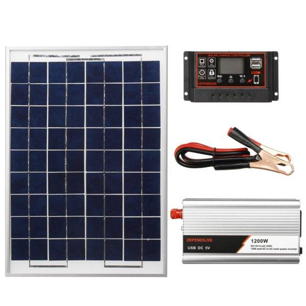 12/24V 10/20/30/40/50/60A PWM USB Solar Charger Controller Regulator Solar Panel Inverter Kit 1