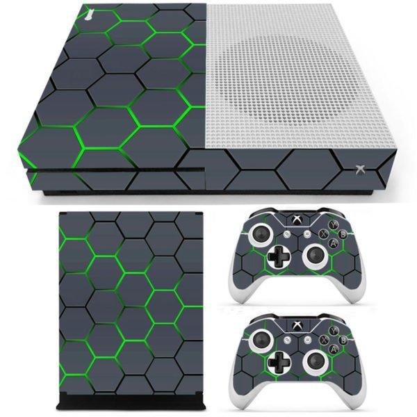 Green Grid Vinyl Decal Skin Stickers Cover for Xbox One S Game Console&2 Controllers 1
