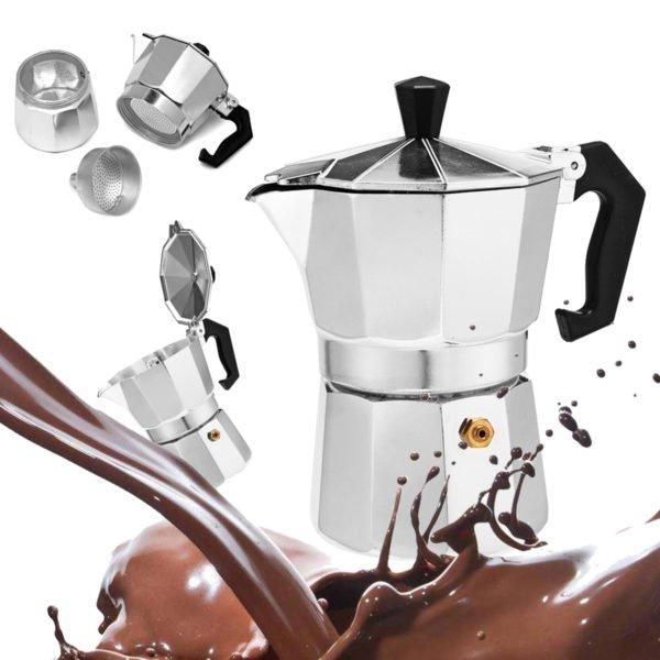50 / 100 / 150 / 450ml Silver Aluminum Octagonal Mocha Coffee Pot Cup Percolator Maker Tea Pot 1