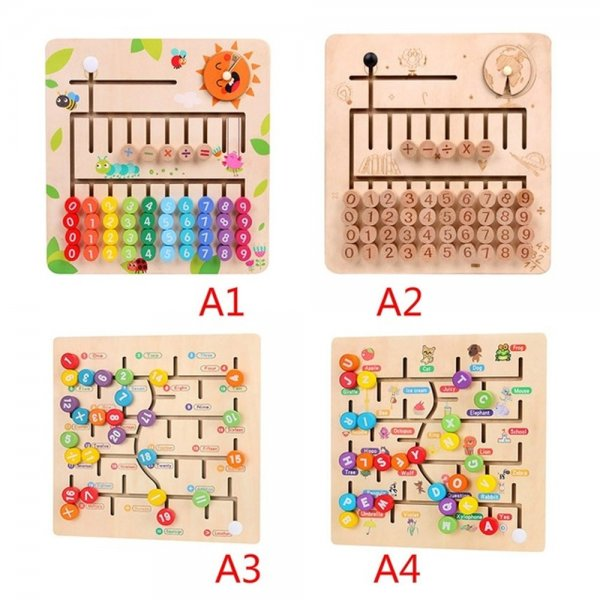 Math Toys Wooden Digitals Alphabet Learning Arithmetic Maze Matching Board Brain Development Toys for Children 1