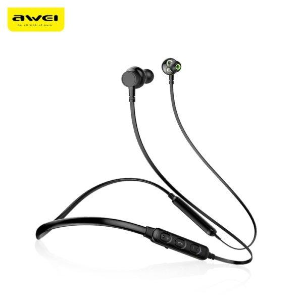 Awei G20BL Dual Drivers Wireless Bluetooth Headphones Neckband Sport Earbuds (BLACK) 1