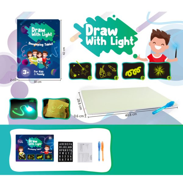 A3 Size 3D Children's Luminous Drawing Board Toy Draw with Light Fun for Kids Family 1