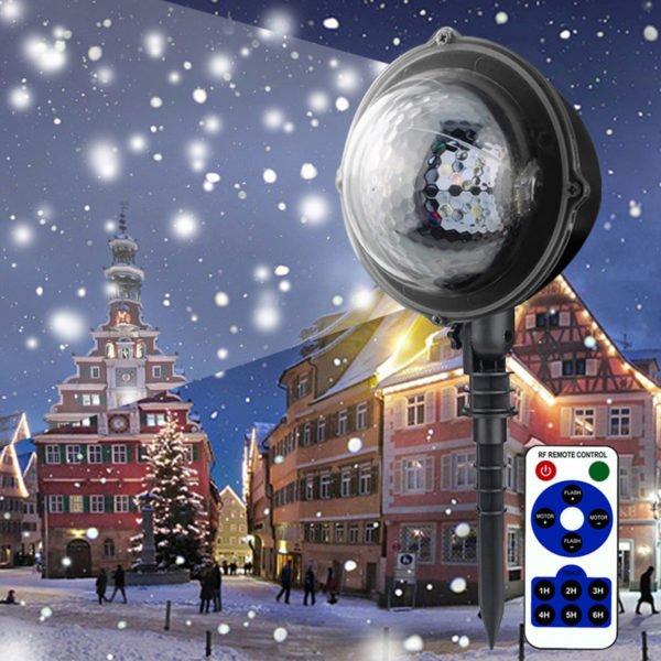5W Moving Snowflake Snow LED Mini Projector Light Adjustable Waterproof Lamp 1