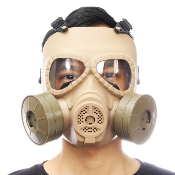 Breathable Gas Mask Double Filter Fan CS Edition Perspiration Dust Face Guard 1