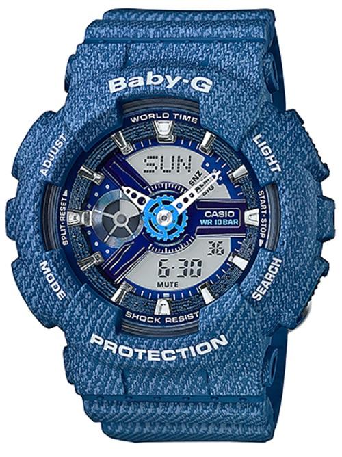 Casio Baby-G Blue Denim Pattern Limited Edition Watch BA110DC-2A2